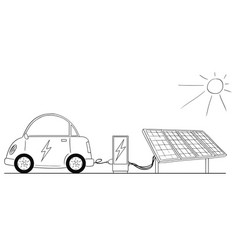 Cartoon of electric car recharging at charging vector