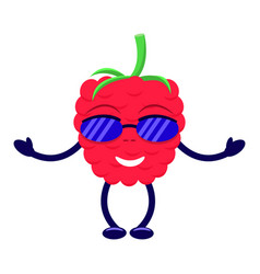 Cartoon raspberry sunglasses pens and legs vector