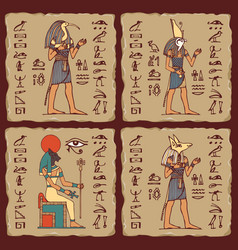 ceramic tiles with egyptian gods and hieroglyphs vector image