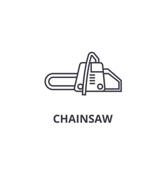 Chainsaw line icon sign on vector