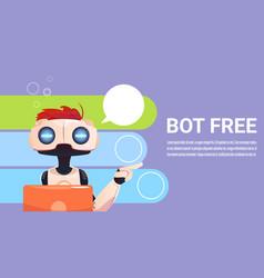 Chat bot using laptop computer robot virtual vector