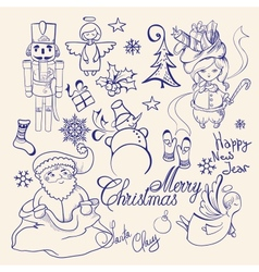 Christmas decorative collection Merry Christmas vector image