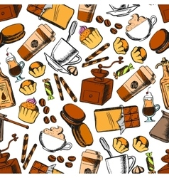 coffee sweets and pastries seamless pattern vector image