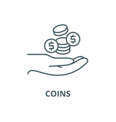 coins line icon coins outline sign vector image