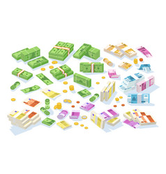 collection of isometric cash money set of various vector image