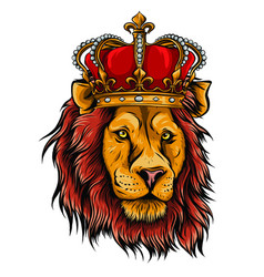 Color king lion on white vector