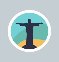 Colorful banner of cute statue of jesus in rio vector