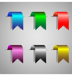 colorful bookmark ribbons set vector image vector image