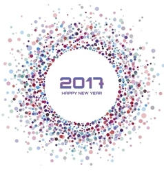 Colorful New Year 2017 confetti circle frame vector image
