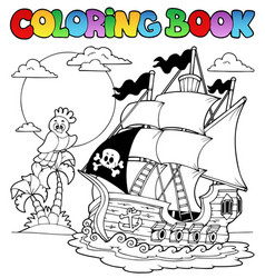 Coloring book with pirate ship 2 vector