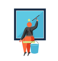 commercial cleaning services flat isolated vector image
