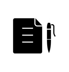 contract - document file with pen icon vector image