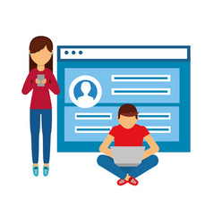 couple with web page isolated icon vector image