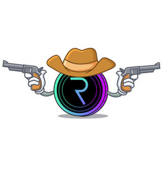 Cowboy request network coin character cartoon vector
