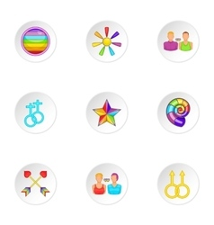 Culture LGBT icons set cartoon style vector