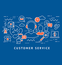 Customer service call centre line flat art vector