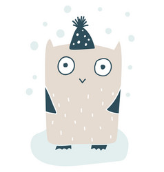 cute little owl in wintercap handdrawn vector image