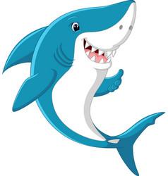 Cute shark giving thumb up vector