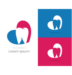 dental logo tooth in heart icon vector image
