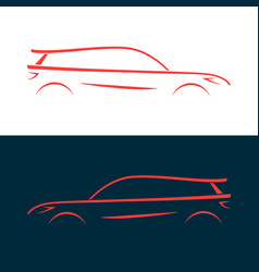 design car fast racing automobile red silhouette vector image