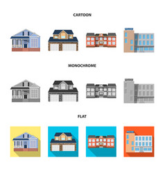Design of building and front logo set of vector