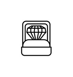 Diamond jewelry in box line style icon vector