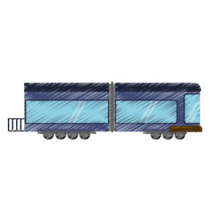 Drawing blue drawing train wagon rail vector