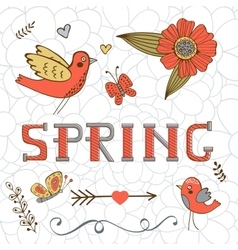 Elegant spring card with a word Spring birds vector