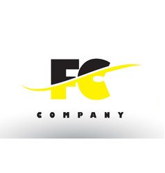 Fc f c black and yellow letter logo with swoosh vector