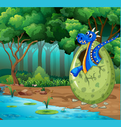 Forest scene with blue dragon hatching egg vector