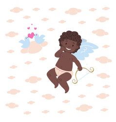 funny african cupid character holding bow vector image