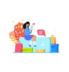 girl buys online with smartphone web shopping vector image