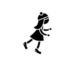 girl skating black icon sign on isolated vector image