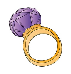 Gold ring with big stone vector