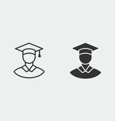 Graduation cap icon for graphic and web vector