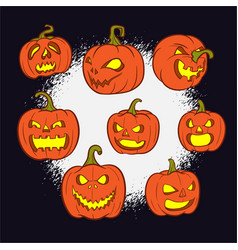 halloween pumpkins set with scary face vector image