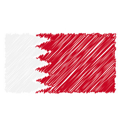 hand drawn national flag of bahrain isolated on a vector image
