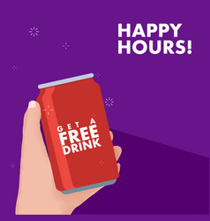 hand holding soda can free drink promotion happy vector image