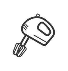 hand mixer outline single isolated icon vector image