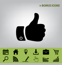 hand sign black icon at gray vector image