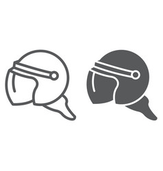 helmet line and glyph icon protection and uniform vector image