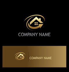 house roof arrow gold logo vector image