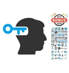Intellect Key Icon With 2017 Year Bonus Symbols vector