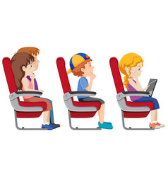 isolated passenger on the airplane vector image