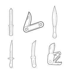 knife icon set outline style vector image