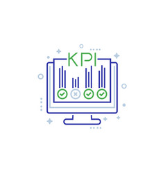 kpi business indicators line icon on white vector image