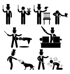 magician magic show icon symbol sign pictograph vector image
