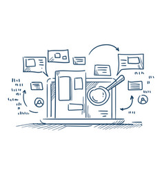 Magnify glass search information on laptop vector