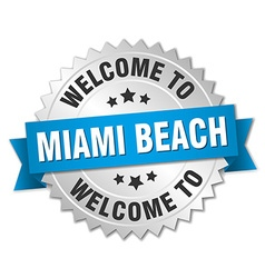Miami Beach 3d silver badge with blue ribbon vector