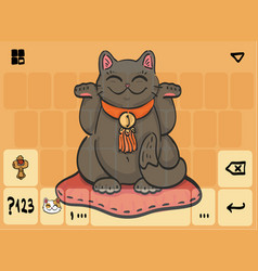 mobile keyboard template theme with cat vector image